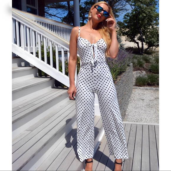 6498c6235c5 Black   White Polka Dot Jumpsuit ⚪ ⚫ . Boutique. Caution To The Wind